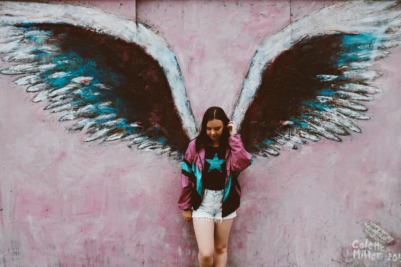 LA mural wings
